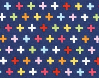 ONLY 3.50 per yard!  Remix Crosses Plus Sign in Multi by Ann Kelle for Robert Kaufman