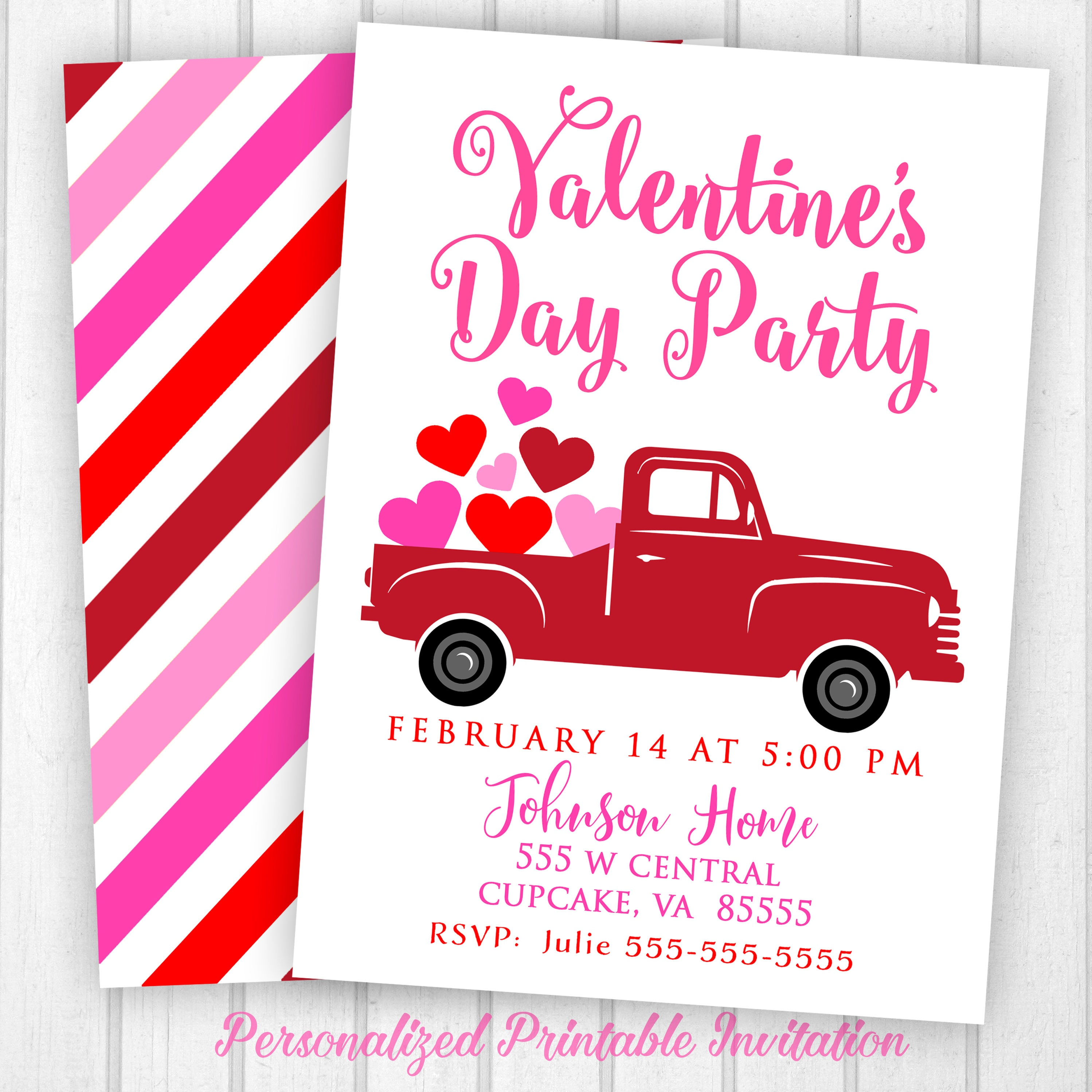 Valentine\'s Day Invitation Truck Valentine\'s Invite