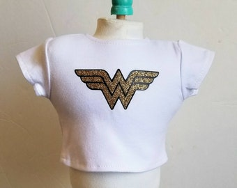 Wonder woman Logo theme t-shirt sized to fit an 18 inch doll.