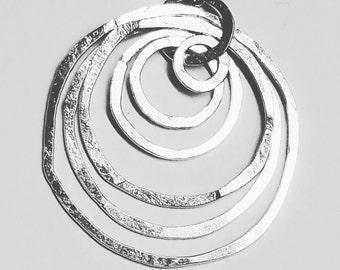 Gift for her, Hammered sterling silver circle pendant, Modern necklace, Contemporary silver pendant,