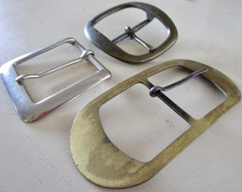 Lot of 3 Large Vintage Metal Belt Buckles - Brass Bronze - Silver - Hipster - Costume - Square - Round - Rectangle - Trio -