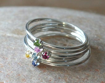 Birthstone Stacking Ring Thin in Sterling Silver 2 mm, Prong Set, Skinny Ring, Slim Ring, Size 2 to 15, Mothers Ring, Feminine Delicate Ring