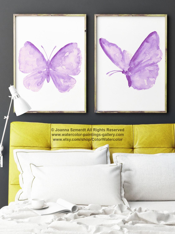 Purple Butterfly Nursery Wall Decor Butterflies Kids Room