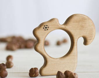 Organic Wooden Squirrel Teether