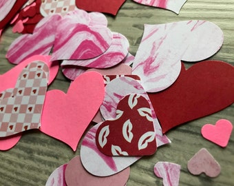 Paper Die Cut Hearts . Cardstock . Set of 100 . Heart Cut Outs / Confetti . Planner Accessories . Junk Journals . Wedding . Cardmaking