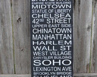 New York City Street Sign Typography Wall Subway Art