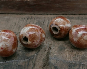 Stoneware Ceramic Beads Sienna Copper Red Handmade Pottery