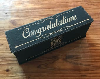 Custom Leather Engraved Wine Box and 4 piece Tools