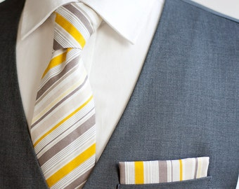 Necktie, Neckties, Mens Necktie, Neck Tie, Mens Necktie, Groomsmen Necktie, Ties, Wedding Neckties - Grey And Yellow Ticking Stripe