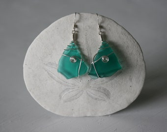 Turquoise Recycled Glass & Silver Spiral Earrings