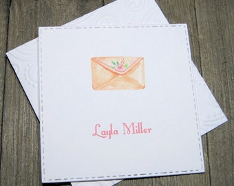Pretty Envelope Personalized Enclosure Cards - Gift Card - Calling Cards - Set of 24 - Girl - Trend - Flat - One sided - Embossed edge