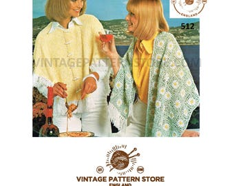 Ladies 1970s crochet stole shawl and knitted cape - Vintage PDF Knitting Pattern 512