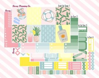 Soak Up Sun **Complete Weekly Planner Sticker Kit** (295 Stickers)