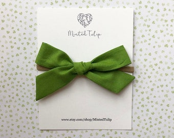 St. Patrick's Day Spring Green School Girl Fabric Bow on Headband or Hair  Clip Baby Toddler Kids