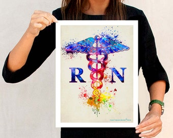 "Watercolor Registered Nurse - Caduceus "" 11"" x 14"" Fine Art Print, Registered Nurse Gift, Watercolor RN Art, Nurse Graduation gift, Medical"