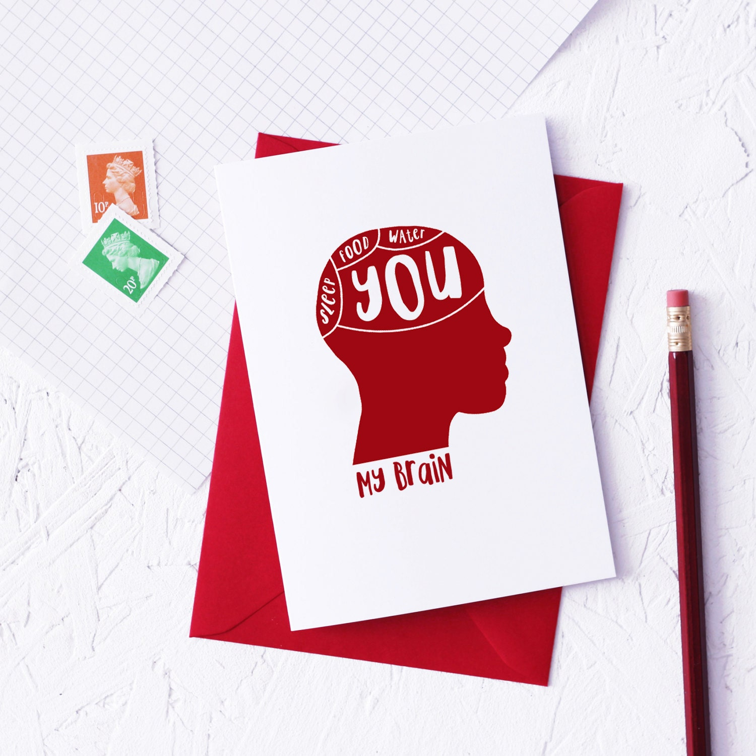 PHRENOLOGY Funny Valentines Day Card Science Theme Geek Red