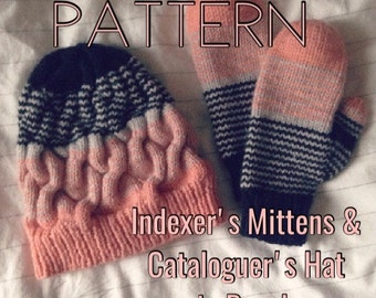PATTERN - Striped mittens and cable hat knitting pattern - Cataloguer's Hat - Indexer's Mittens - Peach