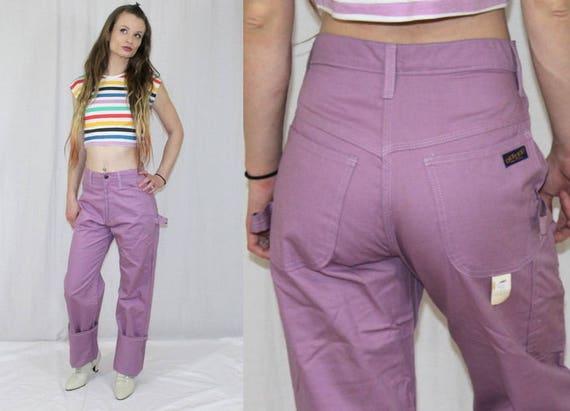 vintage 80s dee cee lavender purple high waist retro carpenter