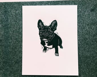 French Bulldog original linocut print