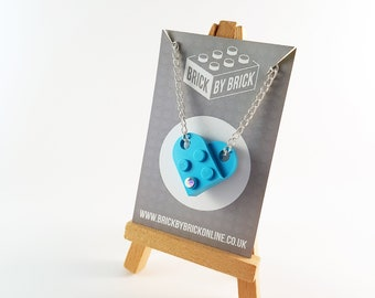 LEGO® Heart with Swarovski crystal necklace blue turquoise - silver plated - geek necklace