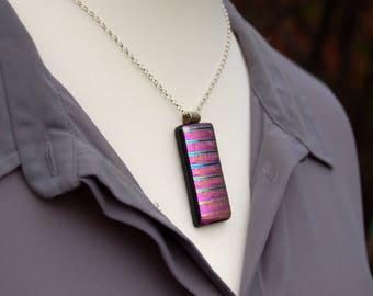 Purple / Pink Dichroic Fused Glass Pendant