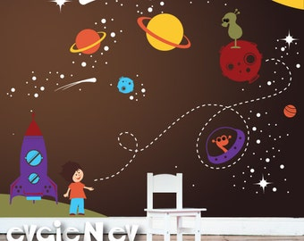 Spaceship Wall Decals -  Nursery Outer Space Stickers with Stars and Astronaut - PLOS010R