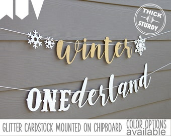 winter ONEderland banner, with snowflakes, winter 1st birthday, glitter party decorations, cursive banner