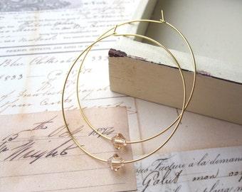 Hoop Earrings, Gold Hoops, Large Gold Plated Hoops with Golden Swarovski Crystals Earrings, Gold Hoop Earrings