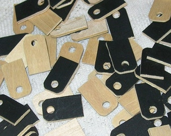 Tiny Price Tags made of Wood, Black and Natural, Necklace Supply, Jewelry making, Scrapbooking, Altered Arts, Mixed Media, Wooden Charm