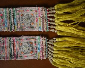 Antique vintage Hmong textile - asian tribal textile - hilltribe costume