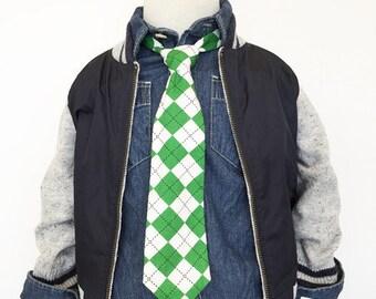 Green Argyle Necktie   Boys