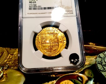 Spain 1556-98 4 Escudos NGC 65 Finest Known Full Crown Pirate Gold Treasure Coins Shipwreck Doubloon