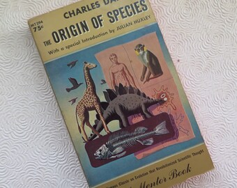 Origin of the Species Charles Darwin Vintage Paperback Great Cover Illustration 1960 Edition Science Evolution Theory New American Library