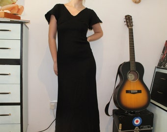 Vintage 1970's Black Maxi Dress (Size 6 (UK))