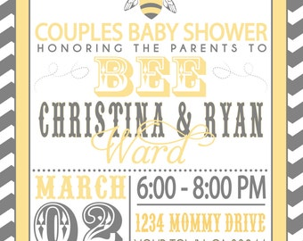 COUPLES baby SHOWER invitation- Parents to BEE
