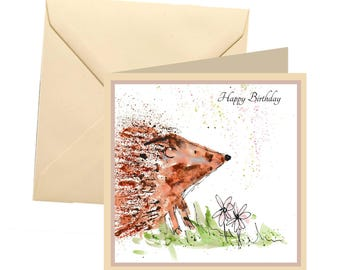 Hedgehog birthday card, blank card, greetings card, birthday card, hedgehog card
