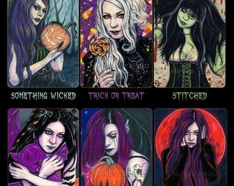 Halloween Collection ACEO Prints Pumpkin Jack o lantern witch candy corn ATC Frankenstein monster stitches Vampire horror gothic fantasy art