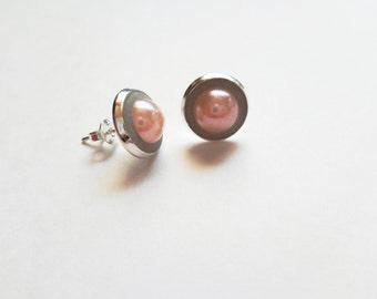 Pearl stud earrings - Pearl post earrings - Sterling silver earrings - Concrete earrings - Concrete jewelry - Pink pearls