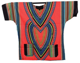 Africa Traditional Heart Of Africa Dashiki - Red
