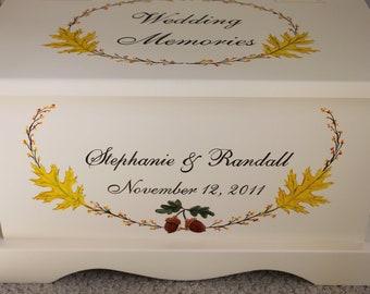 Wedding Keepsake Chest Autumn Fall Memory Box personalized wedding gift hand painted card box
