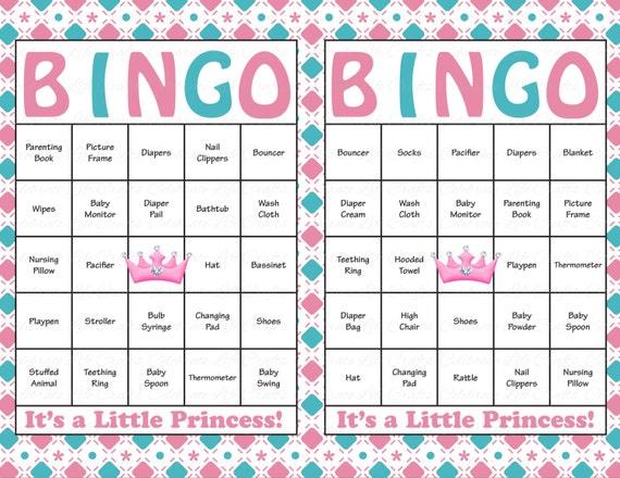 60 Baby Shower Bingo Cards Printable Baby Girl Instant