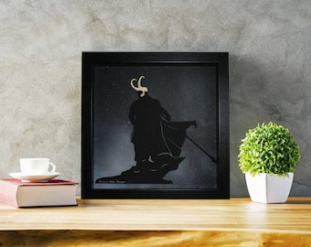LOKI Norse God Of Mischief Hand Made Marvel Thor Ragnarok Movie Film 3D Layered Gold Crown Space Wall Poster Picture Frame