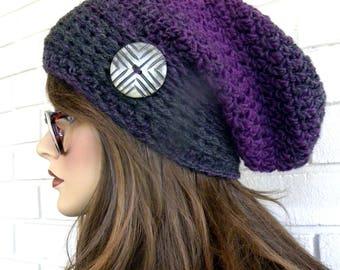 Purple Tuque, chapeau d'hiver, tuque femmes, bonnet, chapeau avec bouton, Boho Chic, Tweed marron rayé, chapeau brun, accessoires