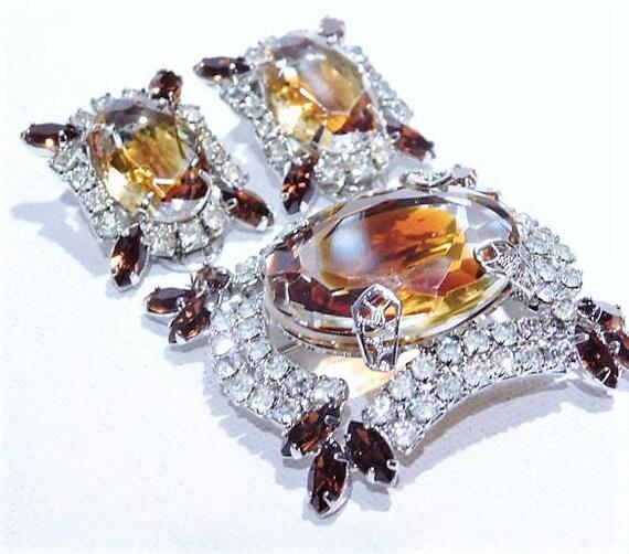 GIVRE Art Glass Rhinestone Brooch Earrings Set
