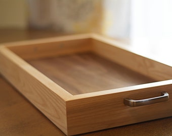Walnut Wood Tray with Handles – Great Tray for Ottoman
