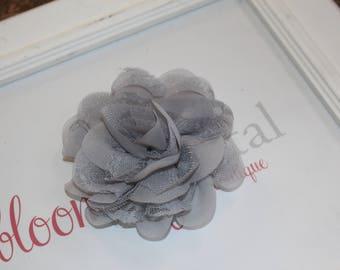 Gray Lace Chiffon Flower Clip