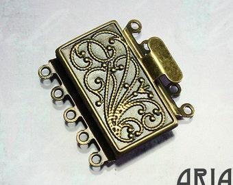 NOUVEAU BOX CLASP:  23x21mm Antique Brass Five Strand Nouveau Box Clasp (1)