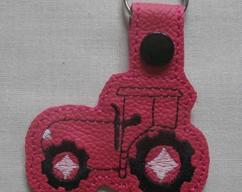 Cerise Pink Tractor Key Ring