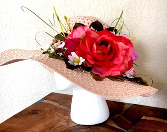 Wide brim Light pink hat accented with green and pink