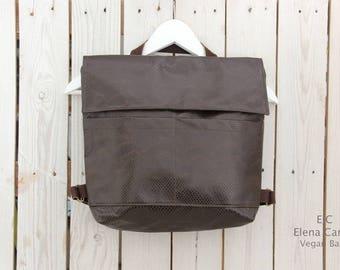 Brown Backpack, Brown Vegan Backpack, Brown Leather Backpack, Square backpack, Vegan Leather backpack women